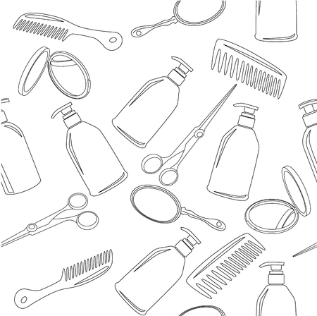 Seamless background with hairdressing accessories Vector