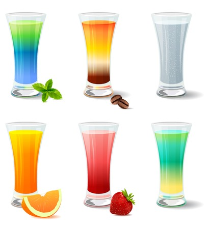 Different detailed realistic cocktails and juices on white Vector