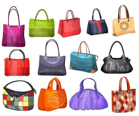 袋の女性のファッションのコレクション。  イラスト・ベクター素材