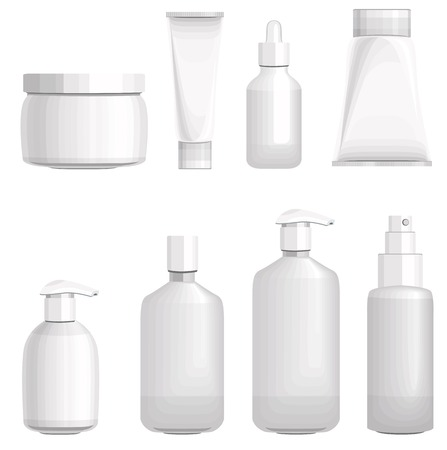 Set with different cosmetic bottles. No gradients, no meshes  Vector