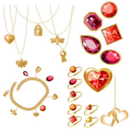 charms: Set with rings, gems and bracelet