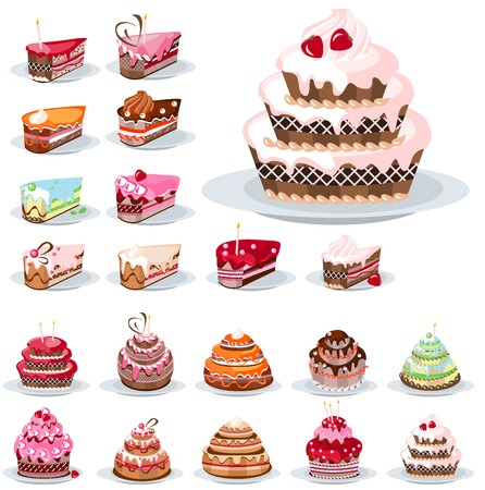 Set with different cakes 矢量图像