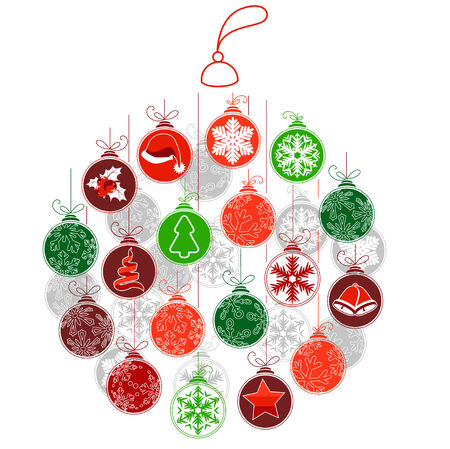 ones: Stylized Christmas ball made of small ones. Vector illustration. Illustration