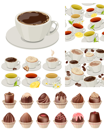 sweetmeats: ig realistic set with cups of tea and coffee, sweets and chocolates.  Vector illustration.