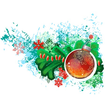christmas bulbs: Modern trendy christmas picture with green branch of fir and glass ball. Vector illustration. Illustration
