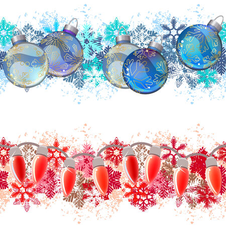 garland border: Endless texture can be used for horizontal wallpaper, web page background, greeting cards, invitations. Vector illustration Illustration