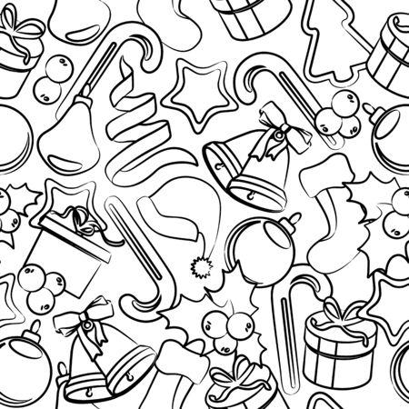 arboles blanco y negro: Patrón en blanco y negro con decoración de Navidad. Textura sin fin se puede utilizar para el papel pintado, patrones de relleno y de la ilustración cards.Vector felicitación de Navidad