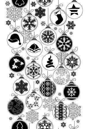 arboles blanco y negro: Modelo inconsútil blanco y negro con bolas de Navidad. Textura sin fin se puede utilizar para el papel pintado, patrones de relleno y de la ilustración cards.Vector felicitación de Navidad