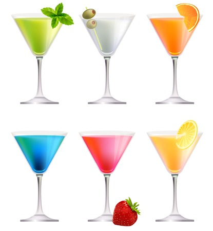 shaken: Set with detailed cocktails isolated on white. Illustration