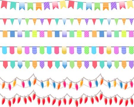 Seven festive horizontal seamless patterns. Endless texture. Vector