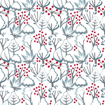 Seamless pattern with winter trees.Endless texture. Vector