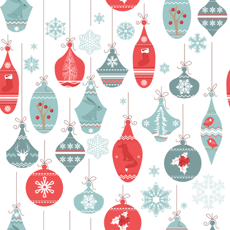 Vintage blue seamless pattern with Christmas decoration