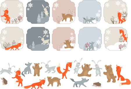 grey wolf: Winter labels with forest animals. Animals isolated on white. Illustration