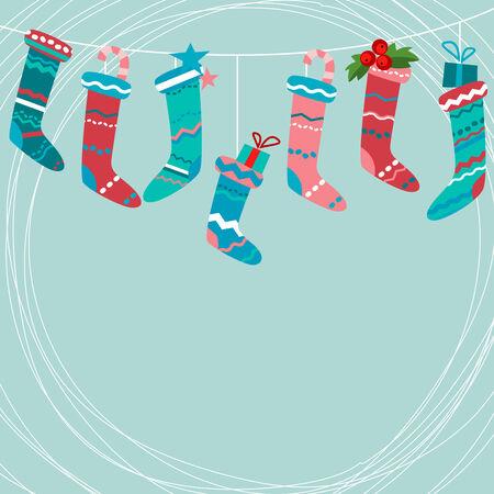 x mas background: Blue greeting card with Santa socks