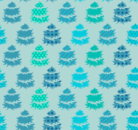 align: Seamless blue  pattern with winter trees