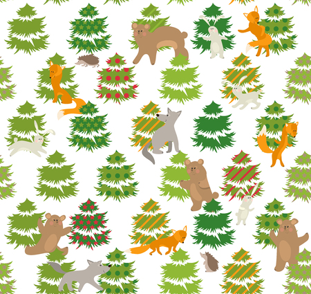 align: Seamless green pattern with winter trees and forest animals