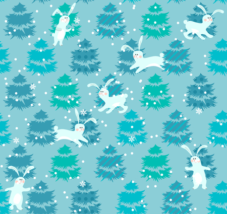 align: Seamless blue pattern with winter trees and rabbits