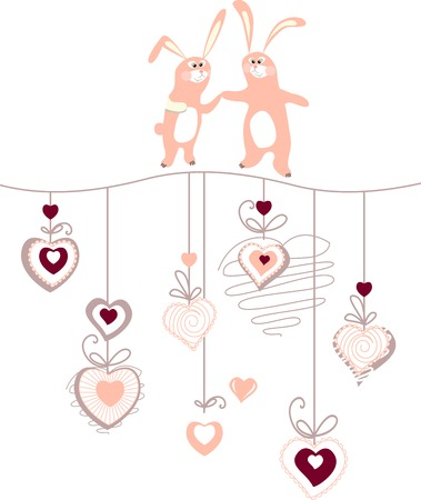 Hearts and two rabbits on white background Vector