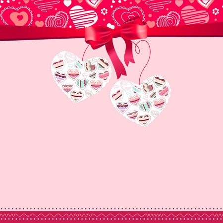 saint valentine s day: Pink frame with contour hearts and ribbon