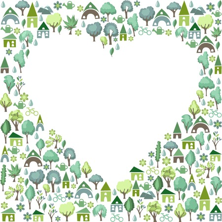 passion ecology: Blank heart made of green trees and country houses