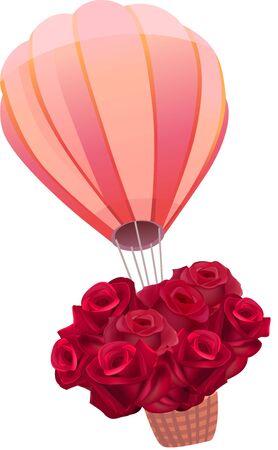 flying balloon: Flying balloon full of fresh red roses
