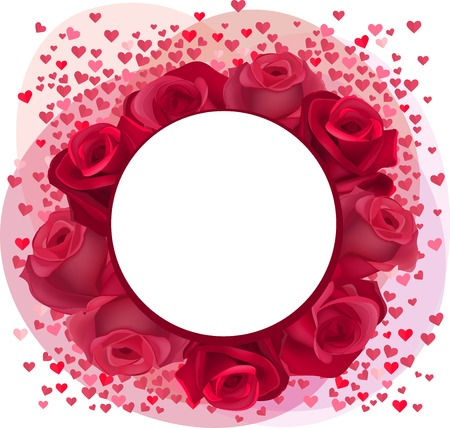 Blank romantic frame with red roses and pink confetti hearts Vector