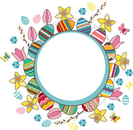 Bright frame with easter eggs, spring flowers and butterflies Vector