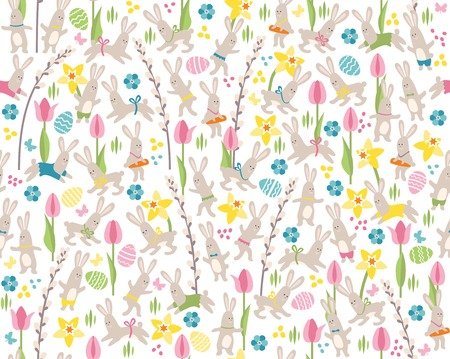 Seamless white pattern with white easter rabbits and spring flowers