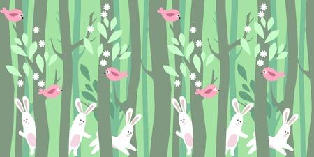 arbol de pascua: Patrón horizontal inconsútil con los árboles de primavera y conejos