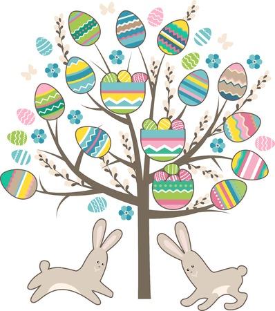 arbol de pascua: �rbol de Pascua estilizado con conejos aislados en blanco Vectores