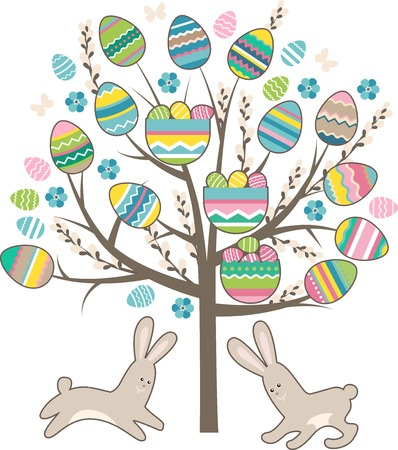 bush babies: Stylized easter tree with rabbits isolated on white