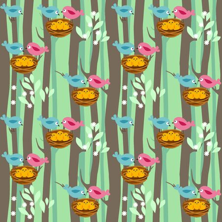 poult: Seamless pattern with spring trees and birds with babies Illustration