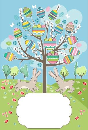 easter tree: Gestileerde Pasen boom met konijnen - wenskaart
