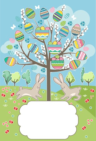 bush babies: Stylized easter tree with rabbits - greeting card