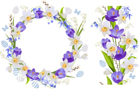 Frame and seamless border with spring flowers - crocus and daffodils Vector