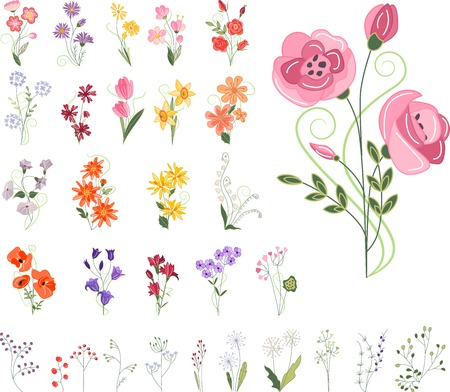 Collection of different stylized flowers isolated on white Vector