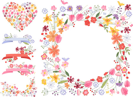 decorative objects: Summer flowers - frame,heart and decorative objects