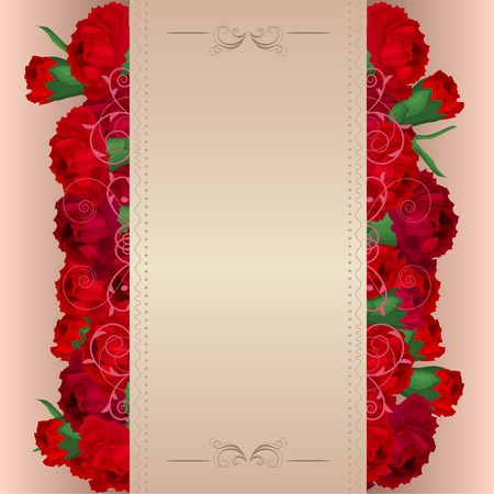 carnations: Beige background with red carnations Illustration