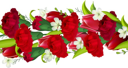 carnations: Seamless horizontal border with red carnations and tulips