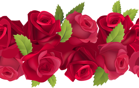 horizontal border: Seamless horizontal border with realistic red roses Illustration