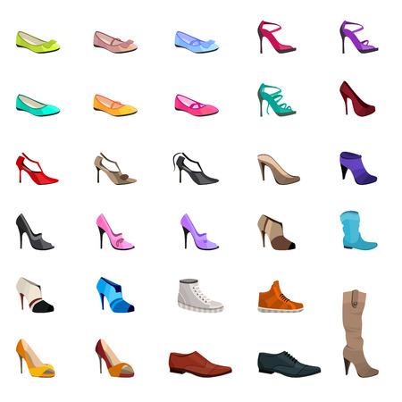women  s fashion: Women s fashion collection of shoes. Set with different shoes isolated on white. Illustration