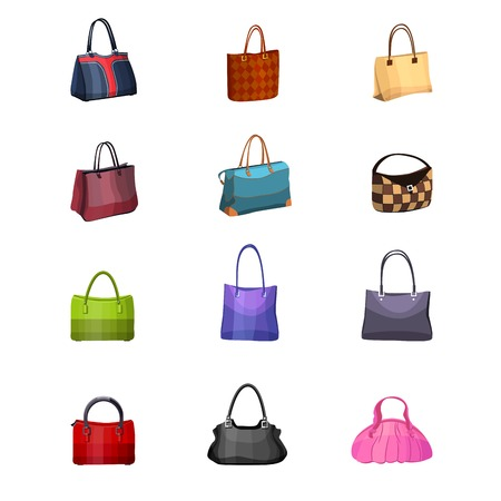 satchel: Women s fashion collection of bags. Set with different bags isolated on white.
