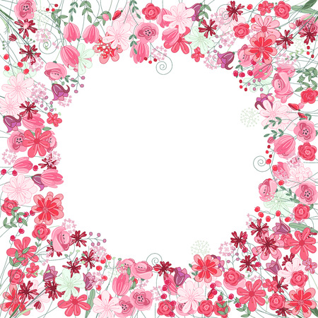 Vintage round frame with contour red flowers isolated on white Vector