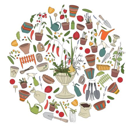 Round template with gardening tools, flower pots,herbs and vegetables Vector