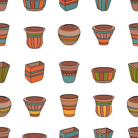 ollas de barro: Modelo inconsútil con las macetas de arcilla. Filas de vasijas de cerámica. Vectores