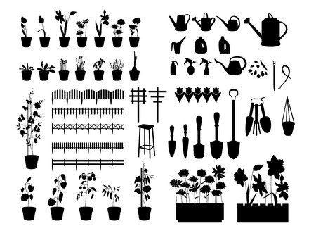 garden patio: Black silhouettes of gardening tools, plants,herbs, flowers isolated on white