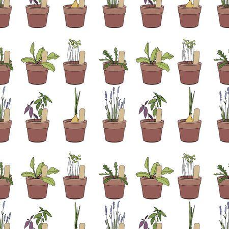 Nahtloses Muster Mit Gartengeräte, Blumentöpfe, Kräuter Und Gemüse ...