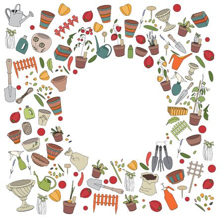 Round frame with gardening tools, flower pots,herbs and vegetables Vector