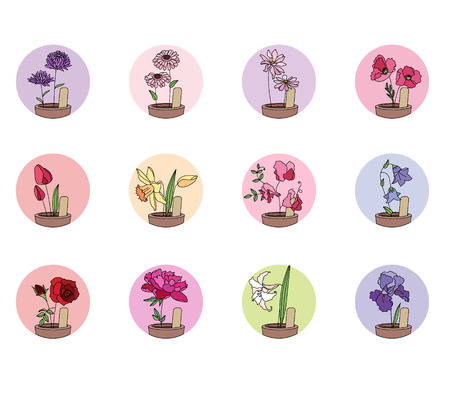 cultivated: Cultivated flowers in pots.  Set of stylized  round icons