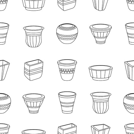 blackandwhite: Seamless pattern with flowerpots. Contour.outline,black-and-white.